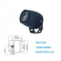 9W/12W AC220V/DC24V Rund LED Fluter Außen Strahler Scheinwerfer 15/30/45 Grad